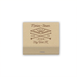 Our personalized White 30 Strike Matchbook with Shiny Champagne Foil has a Diamond Arrow graphic and is good for use in Wedding themed parties and will give your party the personalized touch every host desires.