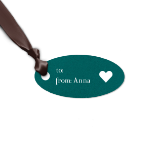 ForYourParty's elegant Poptone Teal/Peacock Rectangle Gift Tag with Matte White Foil has a Solid Heart graphic and is good for use in Wedding, Hearts, Anniversary themed parties and are a must-have for your next event—whatever the celebration!