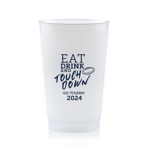 Our beautiful custom Blue 16 oz Frost Flex Color Cup with Matte Navy Ink Cup Ink Colors has a Football graphic and is good for use in Sports themed parties and are a must-have for your next event—whatever the celebration!