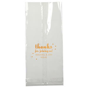 Say thanks for coming to out of town guests with wedding welcome bags filled with local goodies. Customize this polka dot design in the colors of your choice, add your names and fill with love!