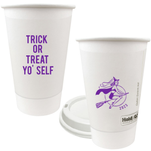 Custom 12 oz Paper Coffee Cup with Lid with Matte Grape Soda Ink Cup Ink Colors has a Sexy Witch graphic and is good for use in Halloween themed parties and are a must-have for your next event—whatever the celebration!