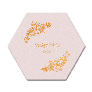 "Rustic Floral - Copper foil - Hexagon Coasters - Personalized - Set of 75 - 4 x 4"""" by ForYourParty.com"