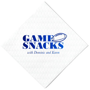 The ever-popular White Cocktail Napkin with Shiny Royal Blue Foil has a Football graphic and is good for use in Sports themed parties and can't be beat. Showcase your style in every detail of your party's theme!