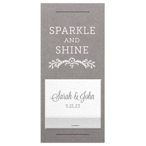 Our custom Natural Slate Large Sparkler Sleeve with Shimmer 30 Strike with Matte White Foil and Matte Slate Gray Foil has a Marigold Vine graphic and is good for use in Accents, Floral, Bridal Shower themed parties and can be customized to complement every last detail of your party.