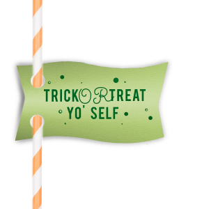 Trick Or Treat Straw Tag