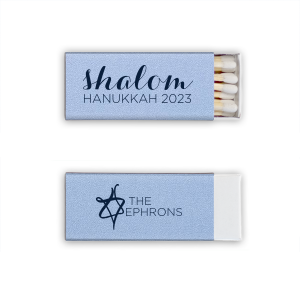 Custom Stardream Sky Blue Triangle Matchbox with Matte Navy Foil Color and has a Painted Star graphic and is good for use in Jewish Symbol, Star themed parties and will add that special attention to detail that cannot be overlooked.