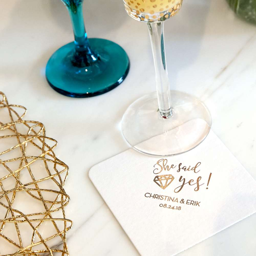 she said yes wedding coaster