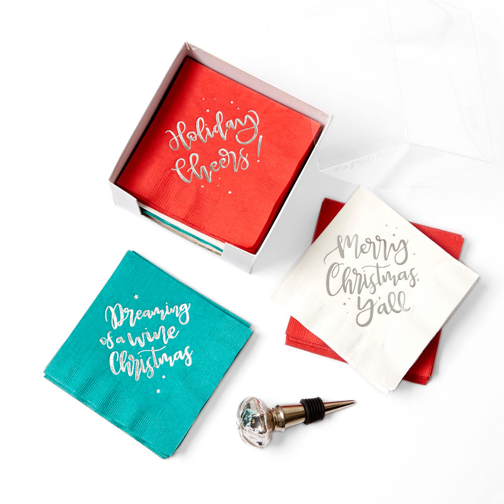 holiday cocktail napkin set