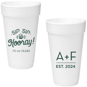 ForYourParty's chic Matte Spruce 16 oz Foam Cup with Matte Spruce Print Color has a Sip Sip Hooray Beer graphic and is good for use in Words themed parties and couldn't be more perfect. It's time to show off your impeccable taste.
