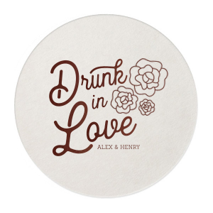 Our custom White Round Coaster with Matte Ballet Pink Foil has a Romantic Roses Bunch graphic and is good for use in Floral Wedding and Shower themed parties and are a must-have for your next event—whatever the celebration!