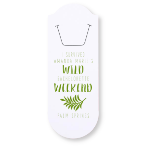 ForYourParty's personalized Natural Frost White Rounded Bookmark with Shiny Kiwi / Lime Foil Color has a Leaves graphic and is good for use in Floral themed parties and will give your party the personalized touch every host desires.