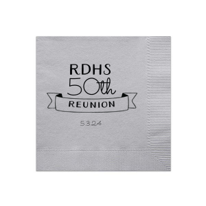 Our custom Dove Gray Cocktail Napkin with Matte Black Foil Color has a Banner 3 graphic and is good for use in Accents, Frames themed parties and can be customized to complement every last detail of your party.