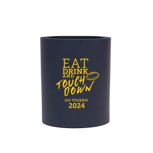 Our beautiful custom Navy Round Can Cooler with Matte Sunflower Ink Cup Ink Colors has a Football graphic and is good for use in Sports themed parties and will look fabulous with your unique touch. Your guests will agree!