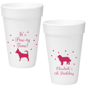 Our custom Matte Fuchsia Ink 16 oz Foam Cup with Matte Fuchsia Ink Screen Print has a Chihuahua graphic and a Bernese Mountain Dog graphic and is good for use in Animal and Birthday themed parties and will impress guests like no other. Make this party unforgettable.