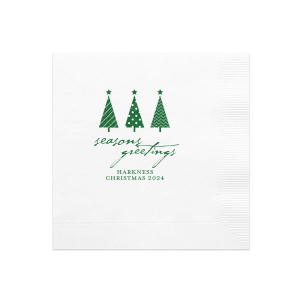 The ever-popular White Cocktail Napkin with Satin Leaf Foil has a 3 Trees graphic and is good for use in Christmas themed parties and couldn't be more perfect. It's time to show off your impeccable taste.