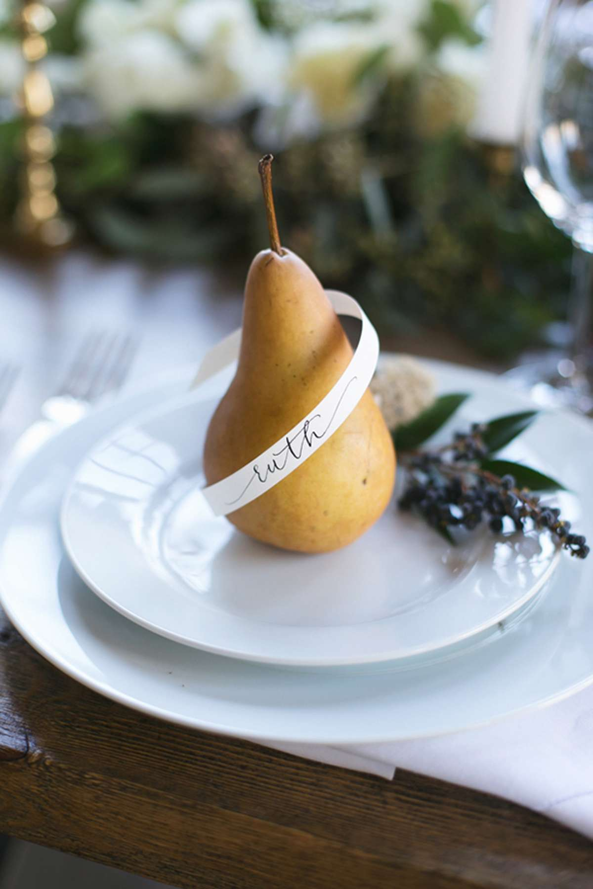 use fruit for place card