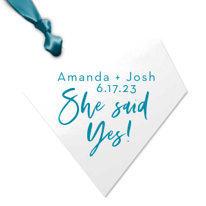 Personalized Marble Blush Diamond Jewel Gift Tag with Shiny Turquoise Foil couldn't be more perfect. It's time to show off your impeccable taste.