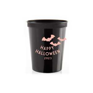 Custom Black 16 oz Stadium Cup with Matte Pastel Pink Ink Cup Ink Colors has a Bats graphic and is good for use in Halloween, Holiday, Animals themed parties and are a must-have for your next event—whatever the celebration!