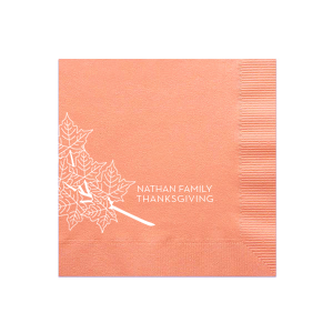 Personalized Burnt Sienna Cocktail Napkin with Matte Ivory Foil has a Full Bleed Autumn Leaves graphic and is good for use in Thanksgiving and Fall themed parties and will impress guests like no other. Make this party unforgettable.