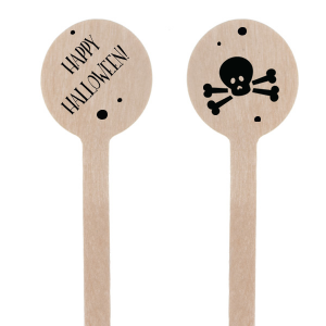 Custom Matte Black Rectangle Stir Stick with Matte Black Foil has a Skull & Crossbones graphic and is good for use in Halloween themed parties and will make your guests swoon. Personalize your party's theme today.