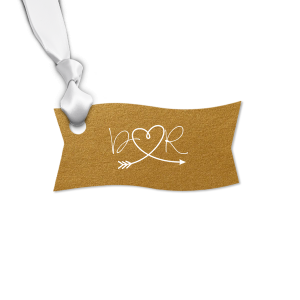 Our personalized Stardream Old Gold Round Gift Tag with Matte White Foil has a Arrow Heart graphic and is good for use in Hearts, Frames, Wedding themed parties and will give your party the personalized touch every host desires.