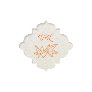 ForYourParty's personalized Stardream White Round Label with Matte Tangerine Ink Color has a Two Leaves graphic and is good for use in Floral, Thanksgiving themed parties and are a must-have for your next event—whatever the celebration!