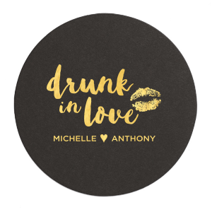 ForYourParty's personalized White Round Coaster with Shiny 18 Kt Gold Foil has a smooch graphic and is good for use in Birthday, Fashion, Wedding themed parties and will give your party the personalized touch every host desires.