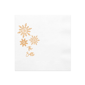 The ever-popular White Luncheon Napkin with Shiny Copper Foil has a Snowflake Cluster graphic and is good for use in Delphine themed parties and will add that special attention to detail that cannot be overlooked.