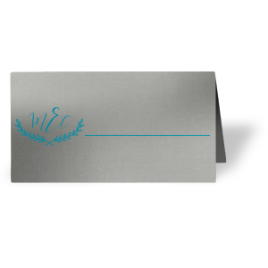 ForYourParty's chic Metallic Sterling Silver Matte Runway Place Card with Satin Teal / Peacock Foil has a Branch Frame 2 graphic and is good for use in Floral, Frames, Wedding themed parties and are a must-have for your next event—whatever the celebration!
