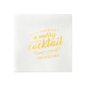 Custom White Cocktail Napkin with Shiny 18 Kt Gold Foil has a Merry Little Cocktail graphic and is good for use in Words, Drinks, Holiday themed parties and are a must-have for your next event—whatever the celebration!