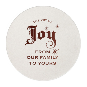 Our custom Eggshell Square Coaster with Shiny Merlot Foil Color has a Joy graphic and is good for use in Delphine themed parties and will make your guests swoon. Personalize your party's theme today.