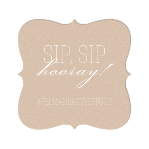 Customize this Kraft and Blush coaster with your wedding hashtag and invite guests to post pictures on social media. With its trendy Sip, Sip Hooray! foil stamp and modern Heart Flourish graphic, this design is all the rage.