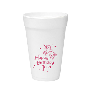 The ever-popular Matte Fuchsia Ink 12 oz Styrofoam Cup with Matte Fuchsia Ink Cup Ink Colors has a Unicorn graphic and is good for use in Animals, Kid Birthday, Birthday themed parties and will add that special attention to detail that cannot be overlooked.