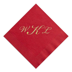 Custom Convertible Red Foil Embossed Cocktail Napkin with Shiny 18 Kt Gold Foil are a must-have for your next event—whatever the celebration!