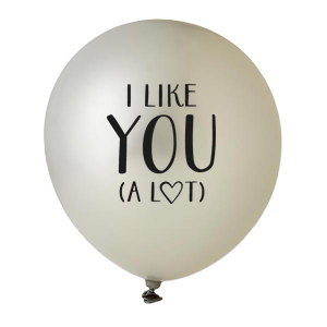 Custom Silver Designer Balloon with Black Ink Ink Color has a I like you graphic and is good for use in Words, Bridal Shower themed parties and will impress guests like no other. Make this party unforgettable.