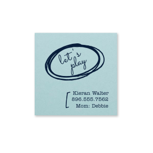 Our custom Poptone Sky Blue Square Business/Calling Card with Matte Navy Foil can't be beat. Showcase your style in every detail of your party's theme!