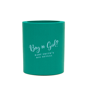 Personalized Tiffany Blue Flat Can Cooler with Matte Teal/Peacock Ink Cup Ink Colors can be personalized to match your party's exact theme and tempo.
