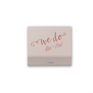 The ever-popular Fog 30 Strike Matchbook with Shiny Rose Quartz Foil has a We Do 3 graphic and is good for use in Wedding, Words themed parties and are a must-have for your next event—whatever the celebration!