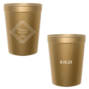 Custom Gold 16 oz Stadium Cup with Matte White Ink Cup Ink Colors has a Diamond Frame graphic and is good for use in Geometric, Industrial, Wedding themed parties and can be customized to complement every last detail of your party.