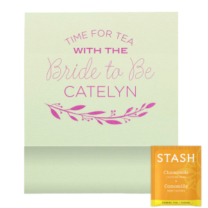 Personalized Poptone Mint Tea Favor with Satin Fuchsia Foil Color has a Branch 4 graphic and is good for use in Floral, Frames themed parties and will impress guests like no other. Make this party unforgettable.