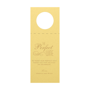 ForYourParty's personalized Poptone Mimosa Wine Hang Tag with Satin 18 Kt. Gold Foil Color has a Flourish 5 graphic and are a must-have for your next event—whatever the celebration!