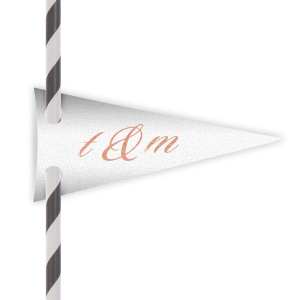 Personalized Stardream Crystal White Pennant Straw Tag with Shiny Rose Gold Foil Color couldn't be more perfect. It's time to show off your impeccable taste.