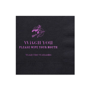ForYourParty's personalized Black Cocktail Napkin with Satin Plum Foil Color has a Sexy Witch graphic and is good for use in Halloween themed parties and will make your guests swoon. Personalize your party's theme today.