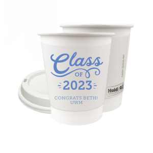 ForYourParty's personalized Matte Periwinkle Ink 8 oz Paper Coffee Cup with Lid with Matte Periwinkle Ink Cup Ink Colors can be personalized to match your party's exact theme and tempo.