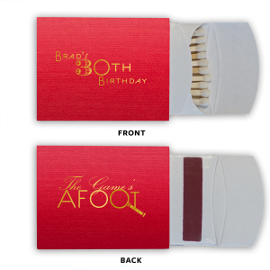 The ever-popular Linen Convertible Red Euro Matchbox with Shiny 18 Kt Gold Foil has a Magnifying Glass graphic and is good for use in Trendy, Symbols, Adventure themed parties and will impress guests like no other. Make this party unforgettable.