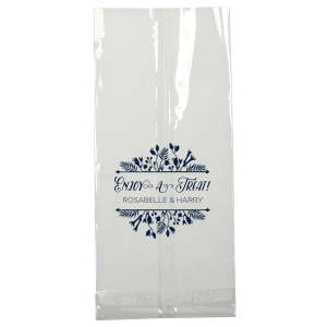 The ever-popular Matte Navy Large Cellophane Bag with Matte Navy Foil Color has a Floral Frame 1 graphic and is good for use in Floral, Frames themed parties and will make your guests swoon. Personalize your party's theme today.