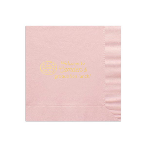 Custom Ballet Pink Guest Towel with Shiny 18 Kt Gold Foil has a Donut graphic and is good for use in Food, Graduation, Birthday themed parties and can be personalized to match your party's exact theme and tempo.