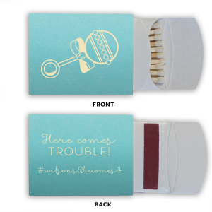 ForYourParty's chic Poptone Tiffany Blue Classic Matchbox with Matte Ivory Foil has a Baby Rattle graphic and is good for use in Baby Shower themed parties and are a must-have for your next event—whatever the celebration!