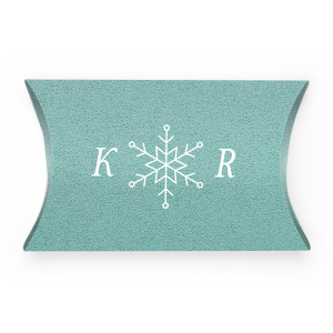 ForYourParty's personalized Stardream Tiffany Blue Pillow Box with Matte White Foil has a Snowflake graphic and is good for use in Holiday, New Years, Winter, Christmas themed parties and will give your party the personalized touch every host desires.