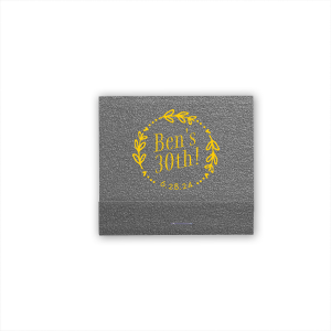 ForYourParty's elegant Black Ore Shimmer 30 Strike Matchbook with Matte Sunflower Foil has a Date Wreath graphic and is good for use in Birthday, Wedding, and all other Special Occasions and couldn't be more perfect. It's time to show off your impeccable taste.
